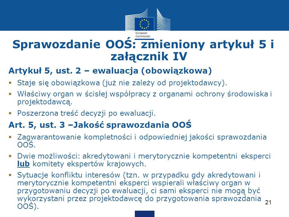 Sprawozdanie OOŚ: zmieniony artykuł 5 i załącznik IV Artykuł 5, ust. 2 – ewaluacja (obowiązkowa) Staje się obowiązkowa (już nie zależy od projektodawc