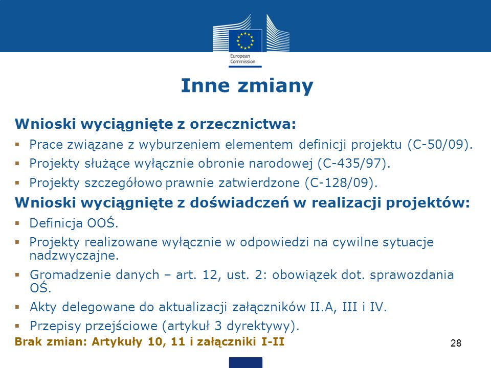 Inne zmiany Wnioski wyciągnięte z orzecznictwa: Prace związane z wyburzeniem elementem definicji projektu (C-50/09). Projekty służące wyłącznie obroni