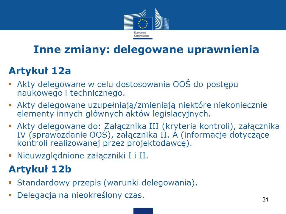 Inne zmiany: delegowane uprawnienia Artykuł 12a Akty delegowane w celu dostosowania OOŚ do postępu naukowego i technicznego. Akty delegowane uzupełnia
