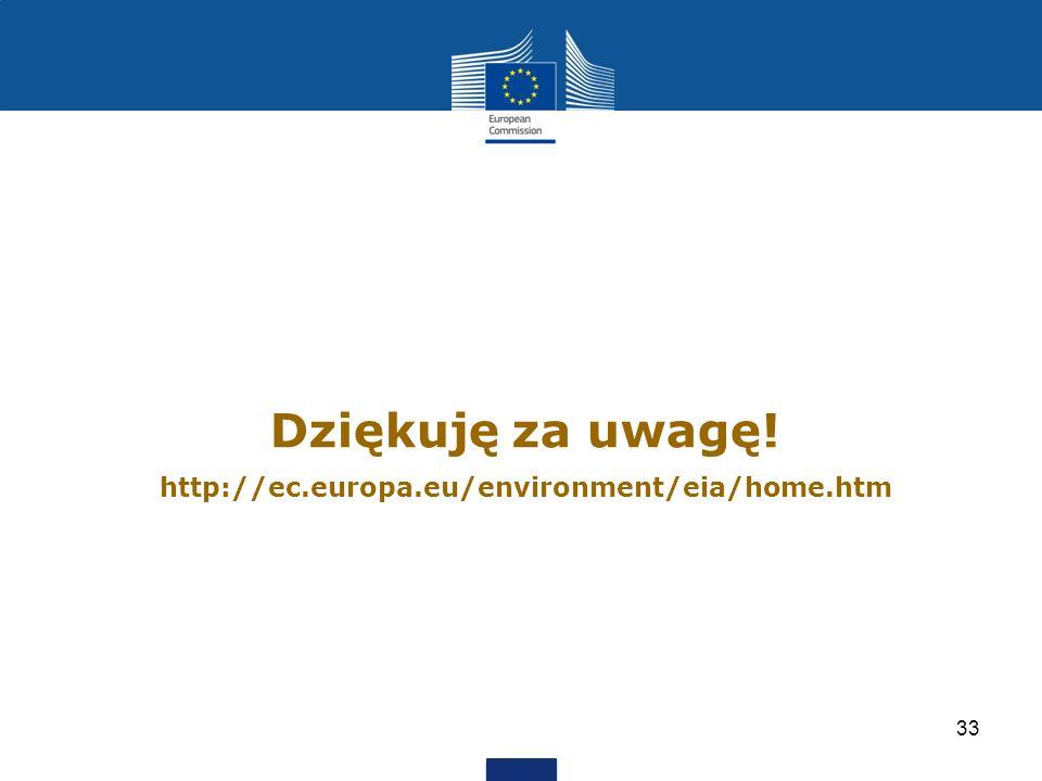 Dziękuję za uwagę! http://ec.europa.eu/environment/eia/home.htm 33