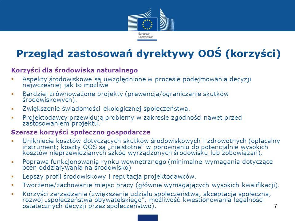 Przegląd zastosowań dyrektywy OOŚ (korzyści) Korzyści dla środowiska naturalnego Aspekty środowiskowe są uwzględnione w procesie podejmowania decyzji
