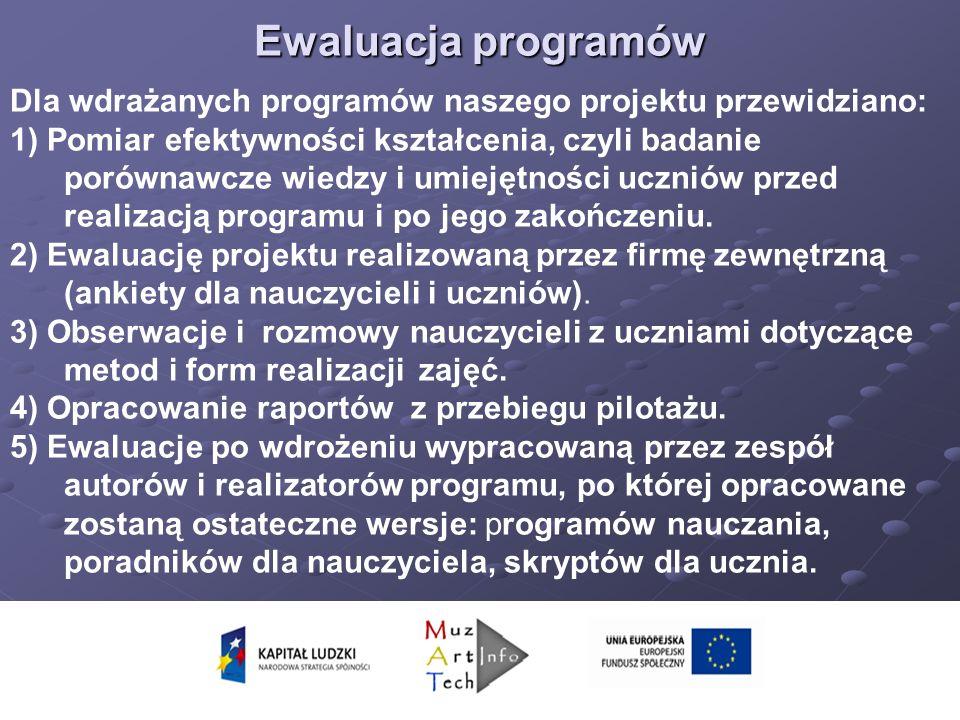 Ewaluacja programów Dla wdrażanych programów naszego projektu przewidziano: 1) Pomiar efektywności kształcenia, czyli badanie porównawcze wiedzy i umiejętności uczniów przed realizacją programu i po jego zakończeniu.