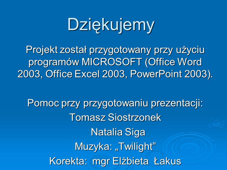 Dziękujemy Projekt został przygotowany przy użyciu programów MICROSOFT (Office Word 2003, Office Excel 2003, PowerPoint 2003). Pomoc przy przygotowani