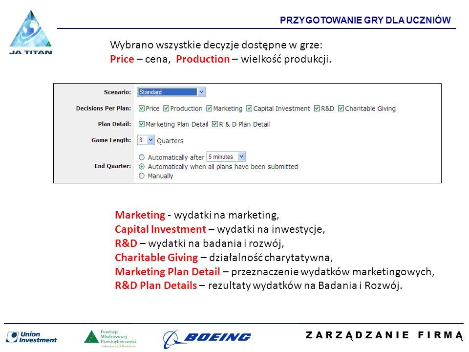 Z A R Z Ą D Z A N I E F I R M Ą PRZYGOTOWANIE GRY DLA UCZNIÓW Wybrano wszystkie decyzje dostępne w grze: Price – cena, Production – wielkość produkcji.