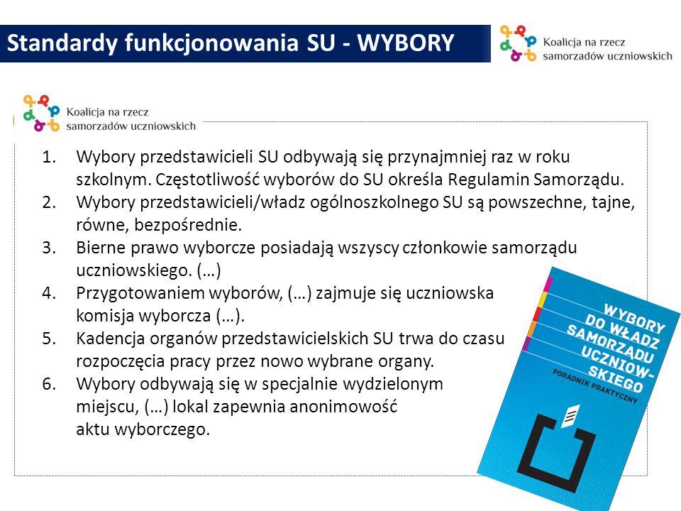 Standardy funkcjonowania SU - WYBORY 1.Wybory przedstawicieli SU odbywają się przynajmniej raz w roku szkolnym. Częstotliwość wyborów do SU określa Re