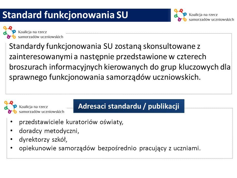 Standard funkcjonowania SU Standardy funkcjonowania SU zostaną skonsultowane z zainteresowanymi a następnie przedstawione w czterech broszurach inform