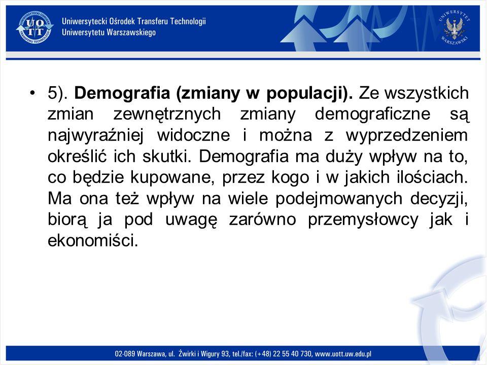 5). Demografia (zmiany w populacji). Ze wszystkich zmian zewnętrznych zmiany demograficzne są najwyraźniej widoczne i można z wyprzedzeniem określić i