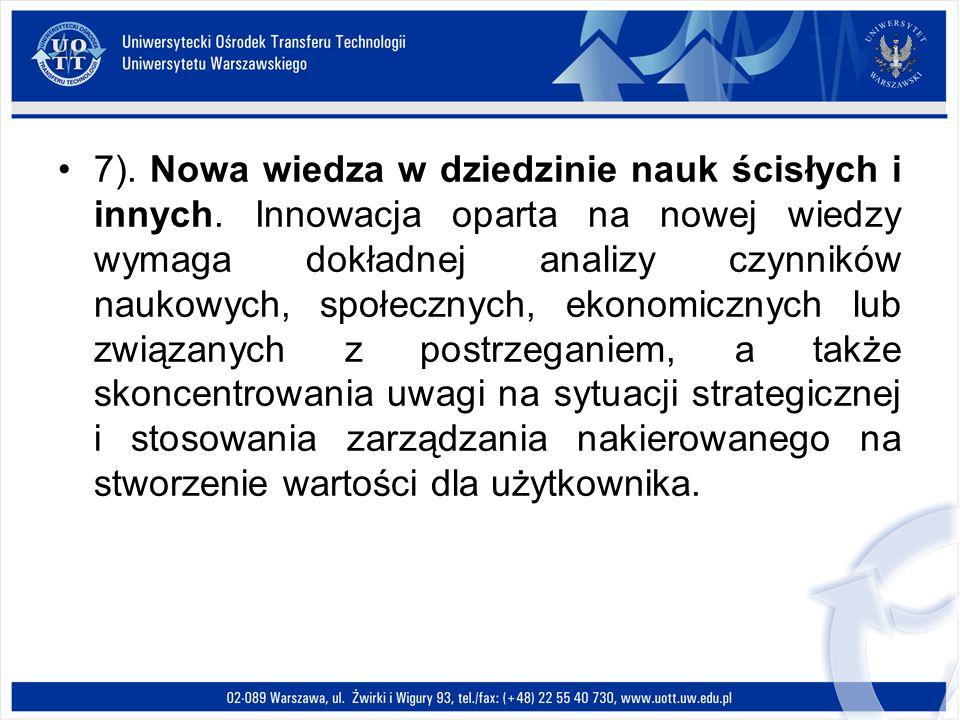 7). Nowa wiedza w dziedzinie nauk ścisłych i innych. Innowacja oparta na nowej wiedzy wymaga dokładnej analizy czynników naukowych, społecznych, ekono