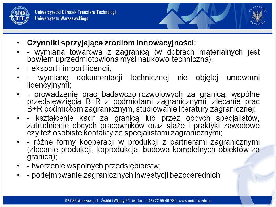 Czynniki sprzyjające źródłom innowacyjności: - wymiana towarowa z zagranicą (w dobrach materialnych jest bowiem uprzedmiotowiona myśl naukowo-technicz