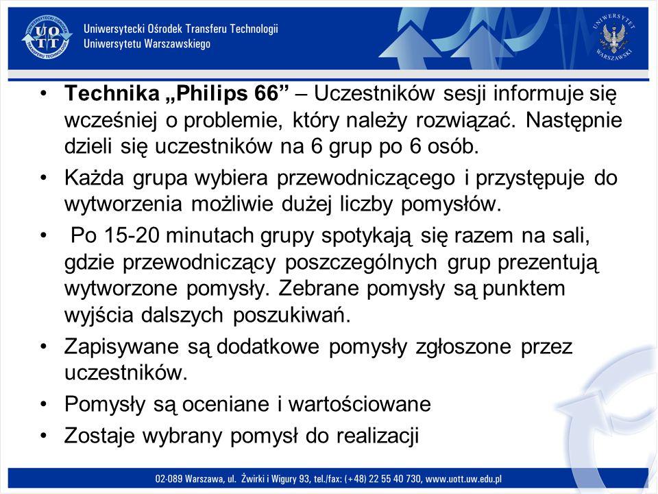 Technika Philips 66 – Uczestników sesji informuje się wcześniej o problemie, który należy rozwiązać. Następnie dzieli się uczestników na 6 grup po 6 o