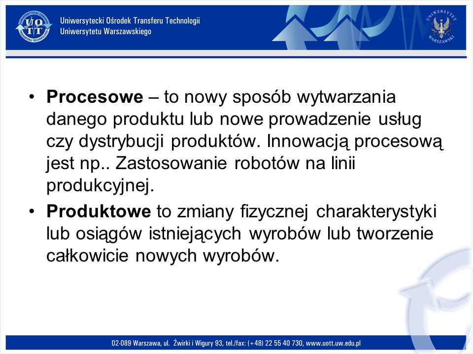 Procesowe – to nowy sposób wytwarzania danego produktu lub nowe prowadzenie usług czy dystrybucji produktów. Innowacją procesową jest np.. Zastosowani