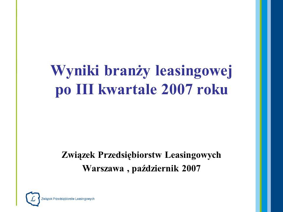 32 firm leasingowych, które udostępniły dane: Bankowy Fundusz Leasingowy BISE Atechnet Leasing BNP Paribas Lease Group BPH Leasing (HVB Group) BRE Leasing (Commerzbank Group) BZ WBK Leasing (AIB Group) Caterpillar Financial Services Poland DaimlerChrysler Services Leasing De Lage Landen Leasing Deutsche Leasing Polska Europejski Fundusz Leasingowy (Credit Agricole Group) Fortis Lease Polska Getin Leasing Handlowy-Leasing IKB Leasing Polska Immoconsult ING Lease (Polska) (ING Group) Kredyt Lease Masterlease Polska Millennium Leasing (Banco NL Leasing Polska NOMA 2 ORIX Polska PEKAO Leasing Raiffeisen Leasing Polska Renault Credit Polska SG Equipment Leasing Polska SGB-Trans-Leasing PTL Siemens Finance VB Leasing Polska (Volksbank Group) VFS Usługi Finansowe Polska Volkswagen Leasing Polska