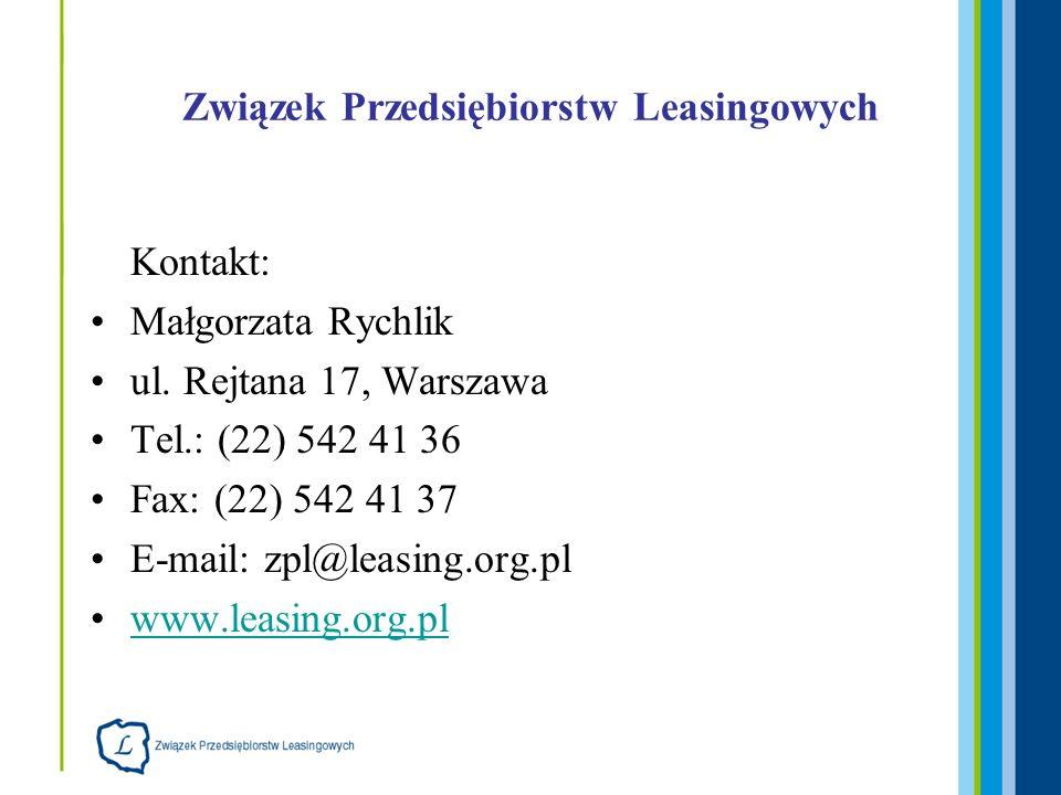 Związek Przedsiębiorstw Leasingowych Kontakt: Małgorzata Rychlik ul. Rejtana 17, Warszawa Tel.: (22) 542 41 36 Fax: (22) 542 41 37 E-mail: zpl@leasing