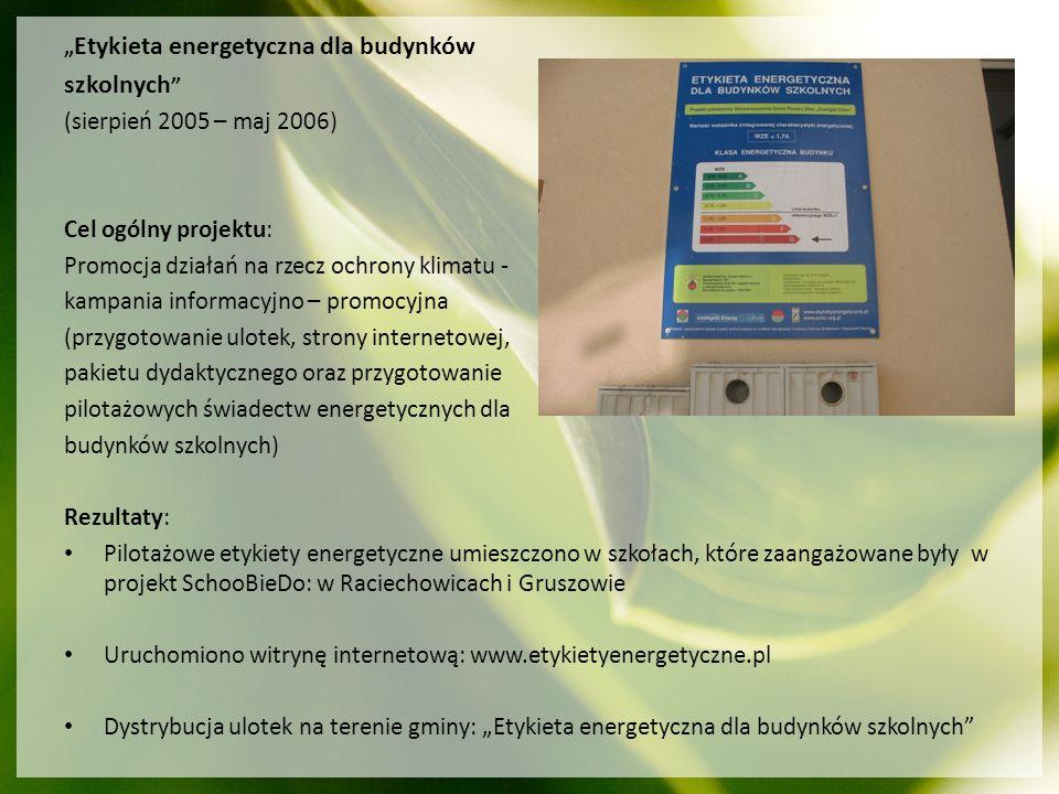 Etykieta energetyczna dla budynków szkolnych (sierpień 2005 – maj 2006) Cel ogólny projektu: Promocja działań na rzecz ochrony klimatu - kampania info