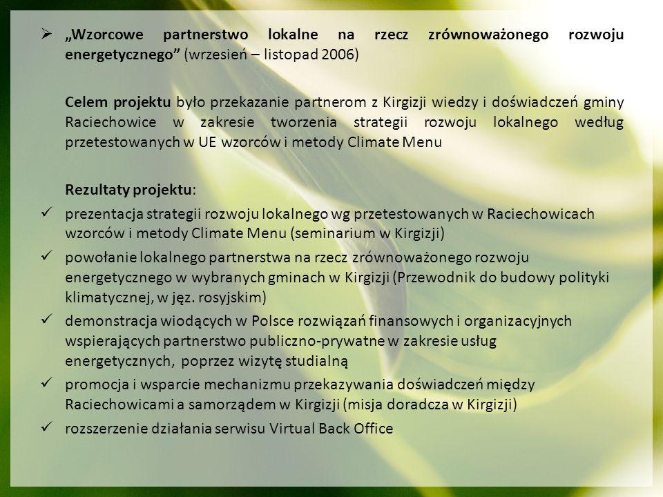 Wzorcowe partnerstwo lokalne na rzecz zrównoważonego rozwoju energetycznego (wrzesień – listopad 2006) Celem projektu było przekazanie partnerom z Kir