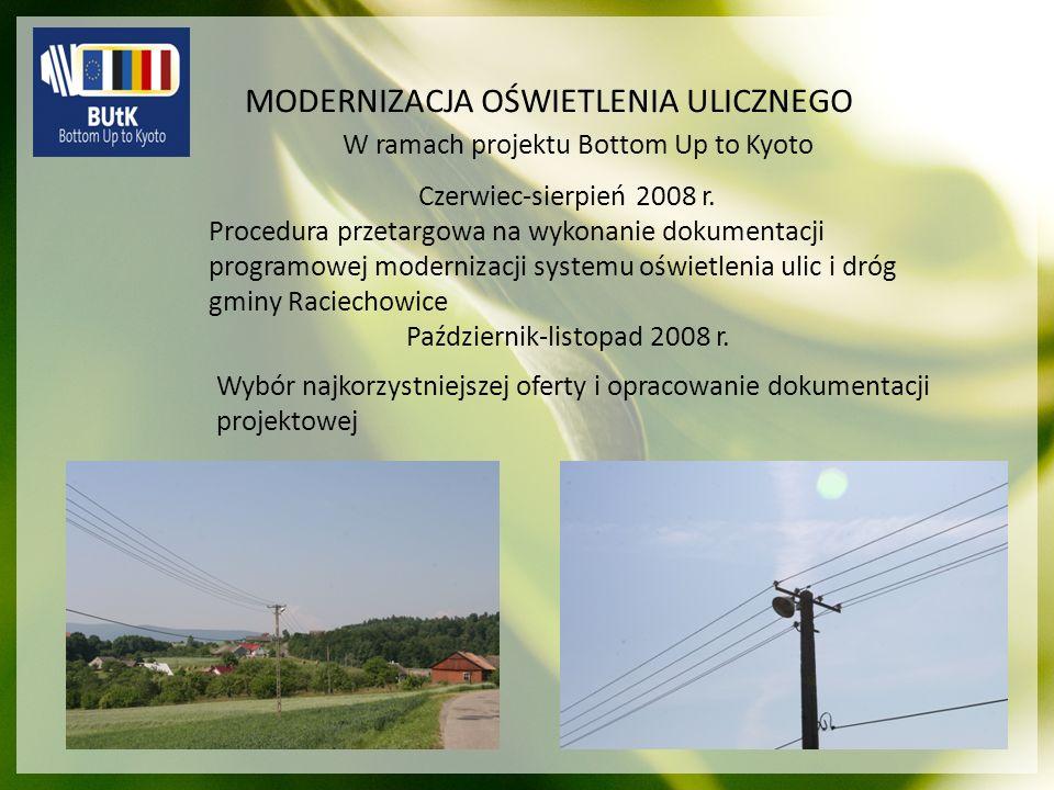 MODERNIZACJA OŚWIETLENIA ULICZNEGO Czerwiec-sierpień 2008 r. Procedura przetargowa na wykonanie dokumentacji programowej modernizacji systemu oświetle