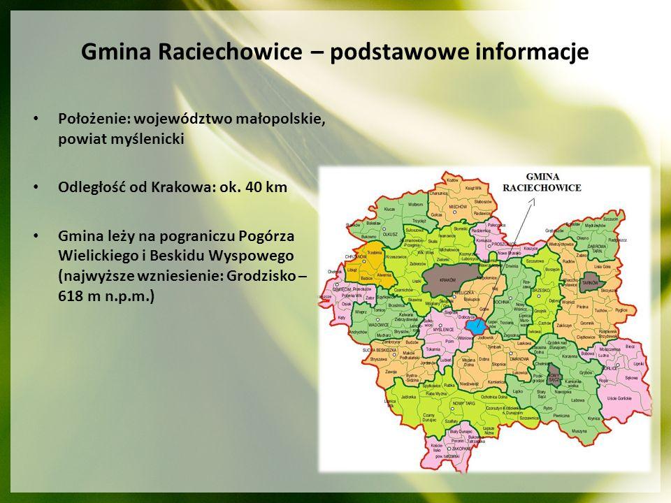 Gmina Raciechowice – podstawowe informacje Położenie: województwo małopolskie, powiat myślenicki Odległość od Krakowa: ok. 40 km Gmina leży na pograni