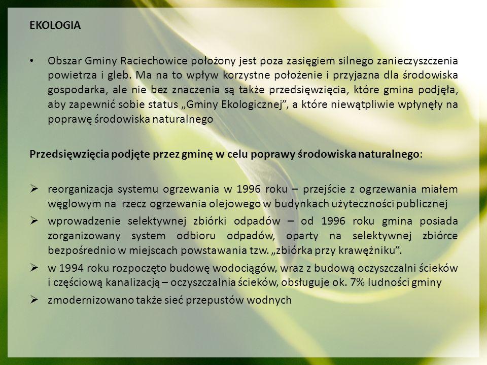 EKOLOGIA Obszar Gminy Raciechowice położony jest poza zasięgiem silnego zanieczyszczenia powietrza i gleb. Ma na to wpływ korzystne położenie i przyja