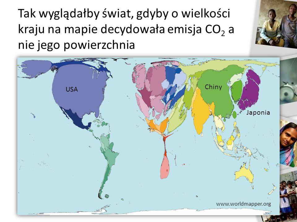 Tak wyglądałby świat, gdyby o wielkości kraju na mapie decydowała emisja CO 2 a nie jego powierzchnia USA Chiny Japonia www.worldmapper.org