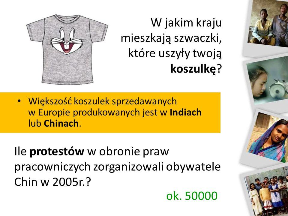 Większość koszulek sprzedawanych w Europie produkowanych jest w Indiach lub Chinach.