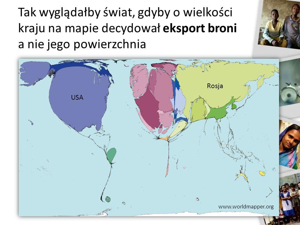 Tak wyglądałby świat, gdyby o wielkości kraju na mapie decydował eksport broni a nie jego powierzchnia USA Rosja www.worldmapper.org