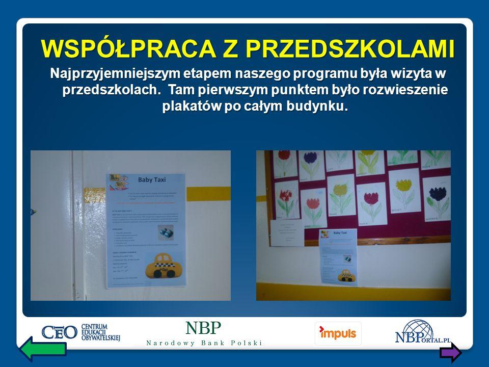 WSPÓŁPRACA Z PRZEDSZKOLAMI Najprzyjemniejszym etapem naszego programu była wizyta w przedszkolach.