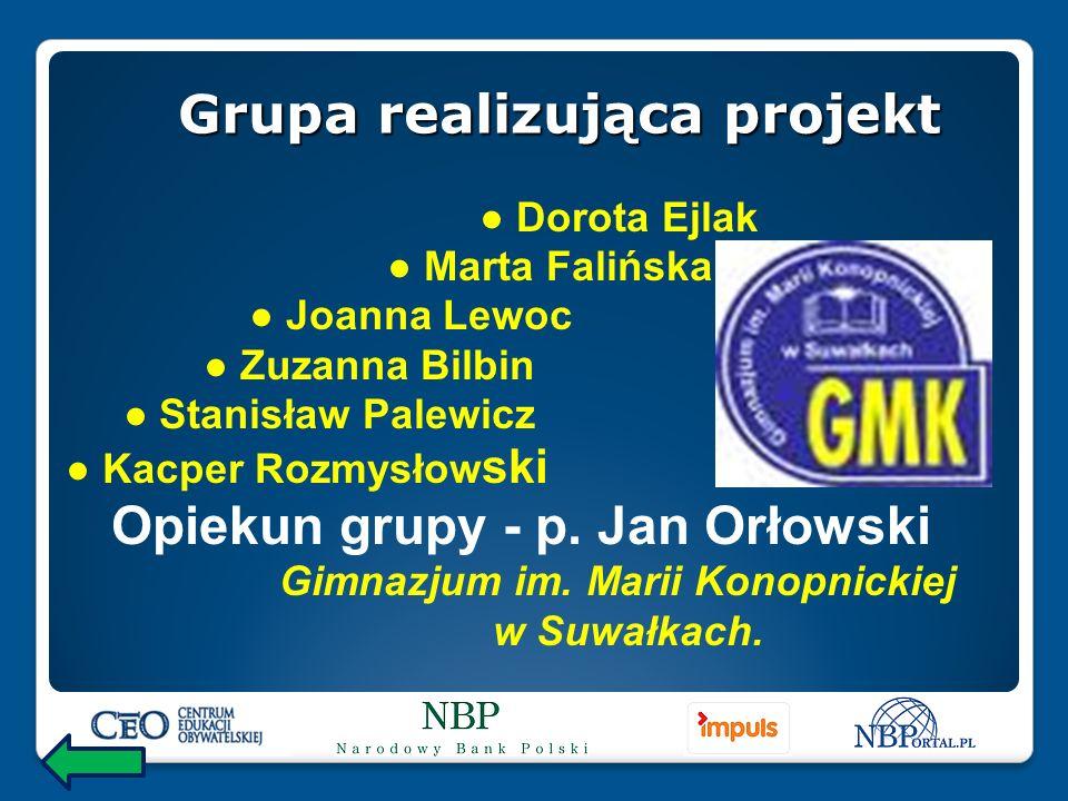 Dorota Ejlak Marta Falińska Joanna Lewoc Zuzanna Bilbin Stanisław Palewicz Kacper Rozmysłow ski Opiekun grupy - p.
