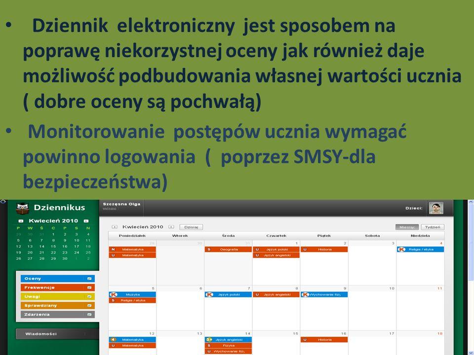 Dziennik elektroniczny jest sposobem na poprawę niekorzystnej oceny jak również daje możliwość podbudowania własnej wartości ucznia ( dobre oceny są p
