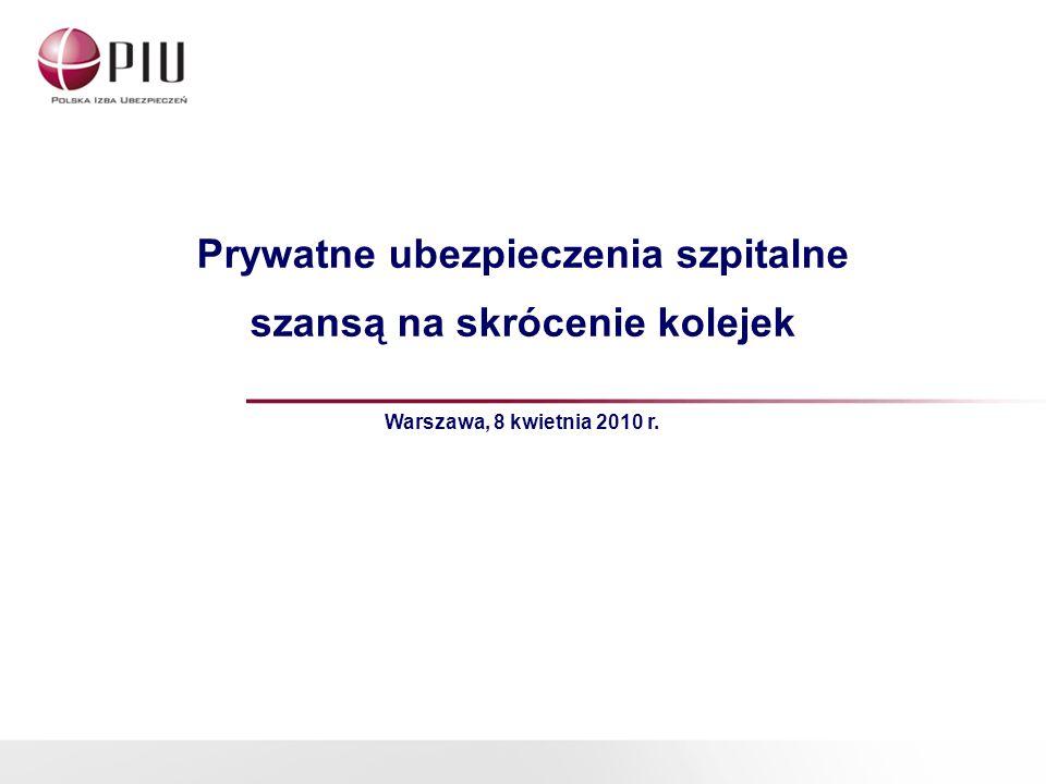 Prywatne ubezpieczenia szpitalne szansą na skrócenie kolejek Warszawa, 8 kwietnia 2010 r.