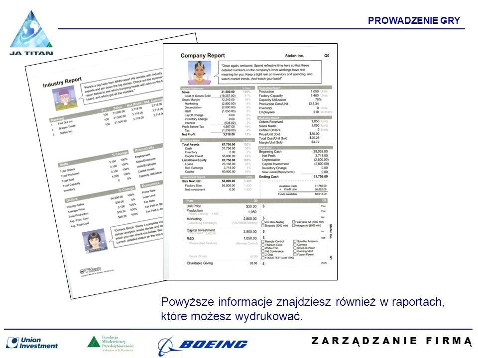 Z A R Z Ą D Z A N I E F I R M Ą PROWADZENIE GRY Powyższe informacje znajdziesz również w raportach, które możesz wydrukować.