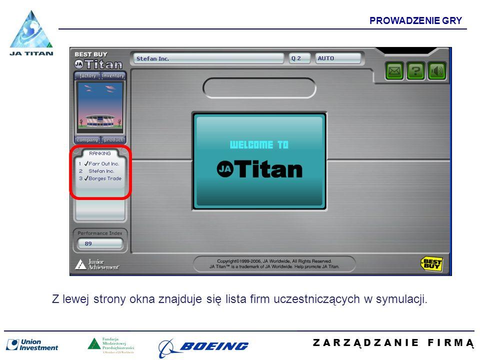 Z A R Z Ą D Z A N I E F I R M Ą PROWADZENIE GRY Z lewej strony okna znajduje się lista firm uczestniczących w symulacji.