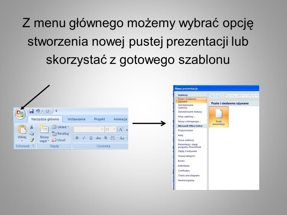 W zależności od tego co chcemy pokazać mamy dostępne gotowe formaty slajdów: strona tytułowa tytuł i zawartość porównanie obraz z podpisem……