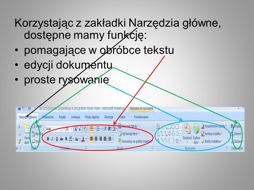 Korzystając z zakładki Narzędzia główne, dostępne mamy funkcję: pomagające w obróbce tekstu edycji dokumentu proste rysowanie