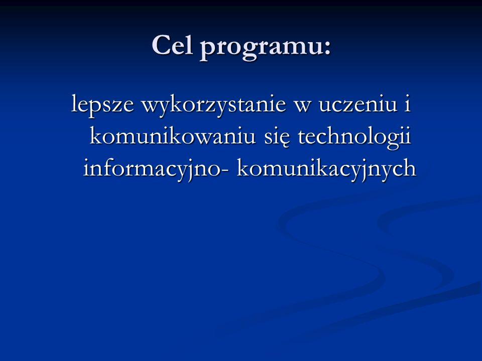 Cel programu: lepsze wykorzystanie w uczeniu i komunikowaniu się technologii informacyjno- komunikacyjnych