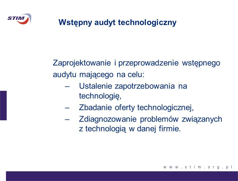 Wstępny audyt technologiczny Zaprojektowanie i przeprowadzenie wstępnego audytu mającego na celu: –Ustalenie zapotrzebowania na technologię, –Zbadanie
