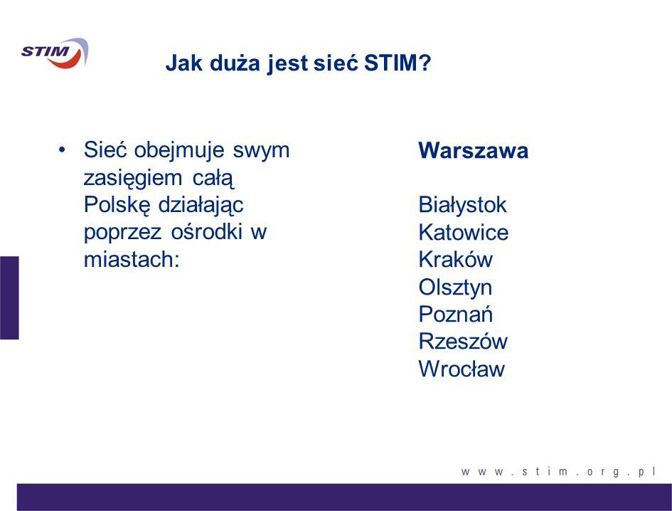 Jak duża jest sieć STIM? Sieć obejmuje swym zasięgiem całą Polskę działając poprzez ośrodki w miastach: Warszawa Białystok Katowice Kraków Olsztyn Poz