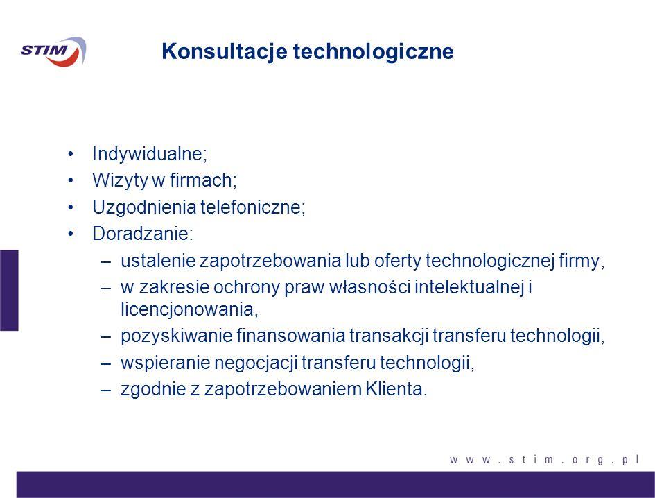 Poszukiwanie partnera do współpracy technologicznej –Pomoc w znalezieniu partnera: –dostawcy nowej technologii (know-how, licencja, urządzenia, itp.), –nabywcy technologii.