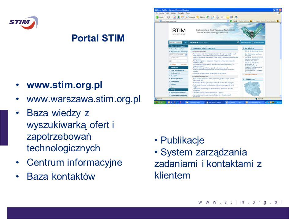 Portal STIM www.stim.org.pl www.warszawa.stim.org.pl Baza wiedzy z wyszukiwarką ofert i zapotrzebowań technologicznych Centrum informacyjne Baza konta