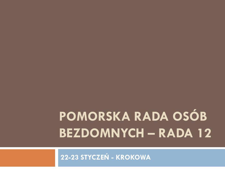 POMORSKA RADA OSÓB BEZDOMNYCH ZADANIA RADY Skomputeryzowanie i wyposażenie samych osób bezdomnych w sprzęt komputerowy (w placówkach) Przygotowanie programu skomputeryzowania placówek - P.Darek P.Andrzej - luty 2009