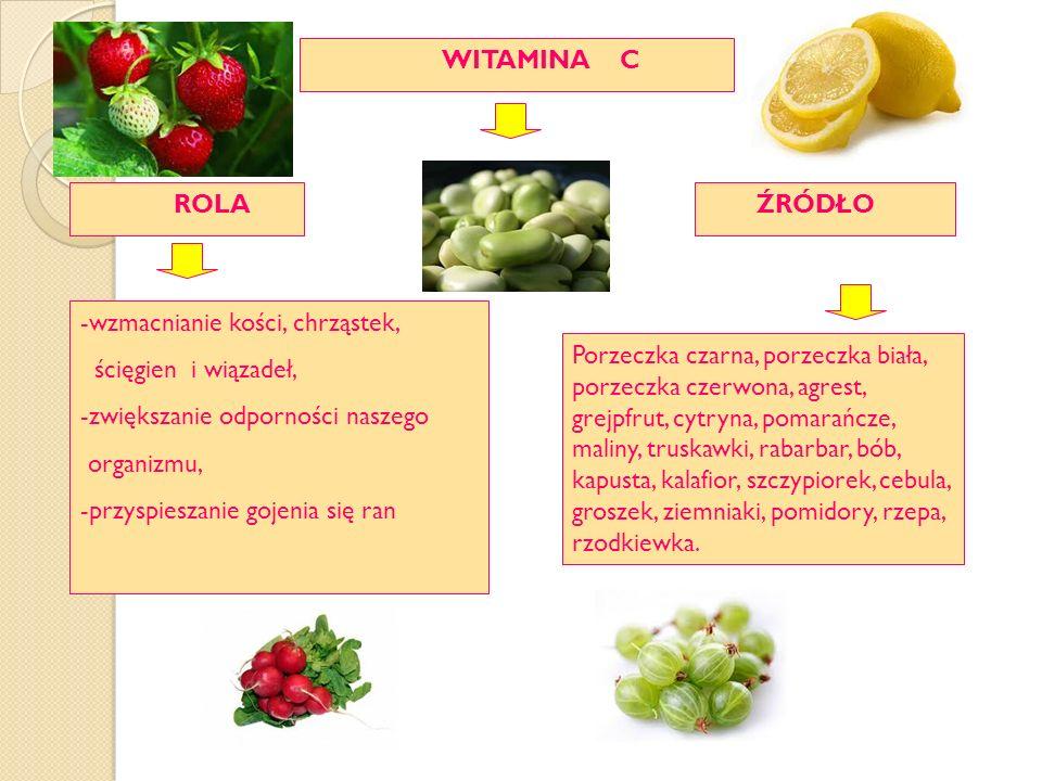 ROLA ŹRÓDŁO WITAMINA D -warunkuje odpowiednią twardość kości, -ułatwia przyswajanie wapnia w organizmie Ryby morskie, tran, węgorz, śledź, szprot, makrela, łosoś, wątroba cielęca,wieprzowa, wołowa,barania, żółtka jaj, masło zwykłe i roślinne, sery żółte.