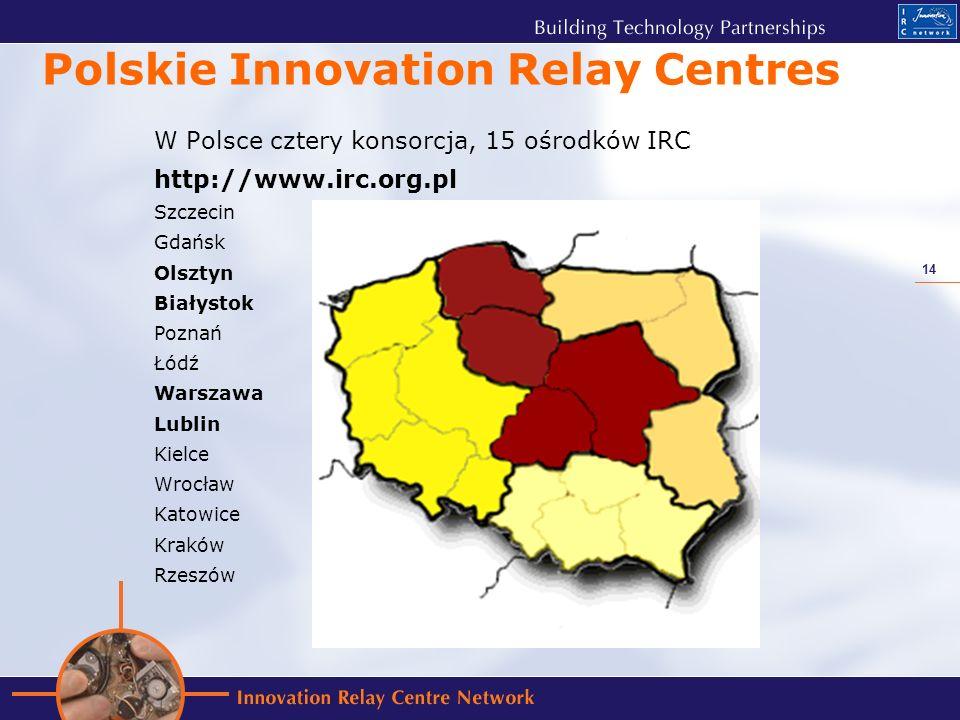 14 Polskie Innovation Relay Centres W Polsce cztery konsorcja, 15 ośrodków IRC http://www.irc.org.pl Szczecin Gdańsk Olsztyn Białystok Poznań Łódź Warszawa Lublin Kielce Wrocław Katowice Kraków Rzeszów