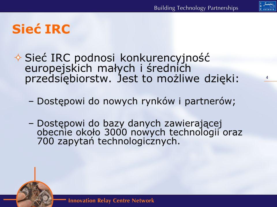 4 Sieć IRC Sieć IRC podnosi konkurencyjność europejskich małych i średnich przedsiębiorstw.