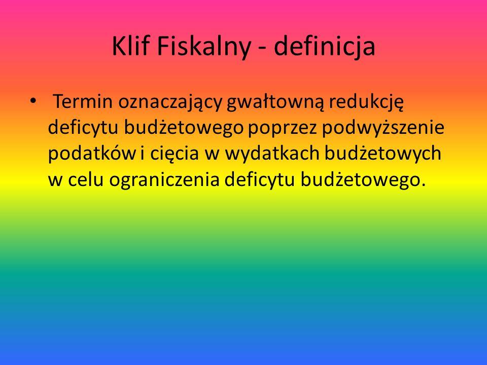 Klif Fiskalny - definicja Termin oznaczający gwałtowną redukcję deficytu budżetowego poprzez podwyższenie podatków i cięcia w wydatkach budżetowych w