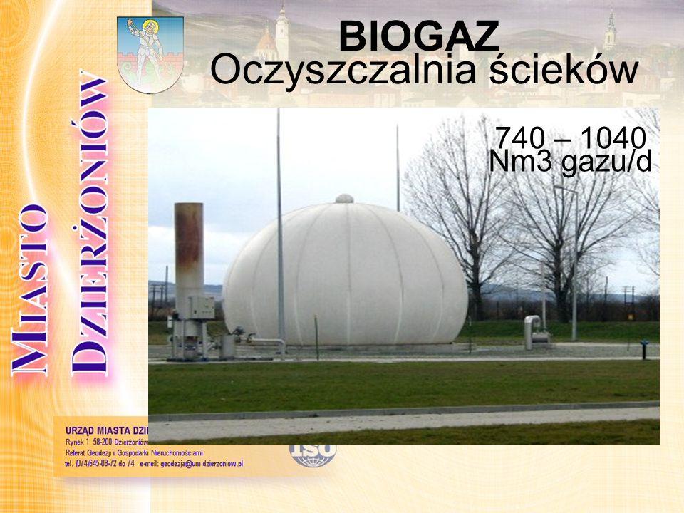 BIOGAZ Oczyszczalnia ścieków 740 – 1040 Nm3 gazu/d