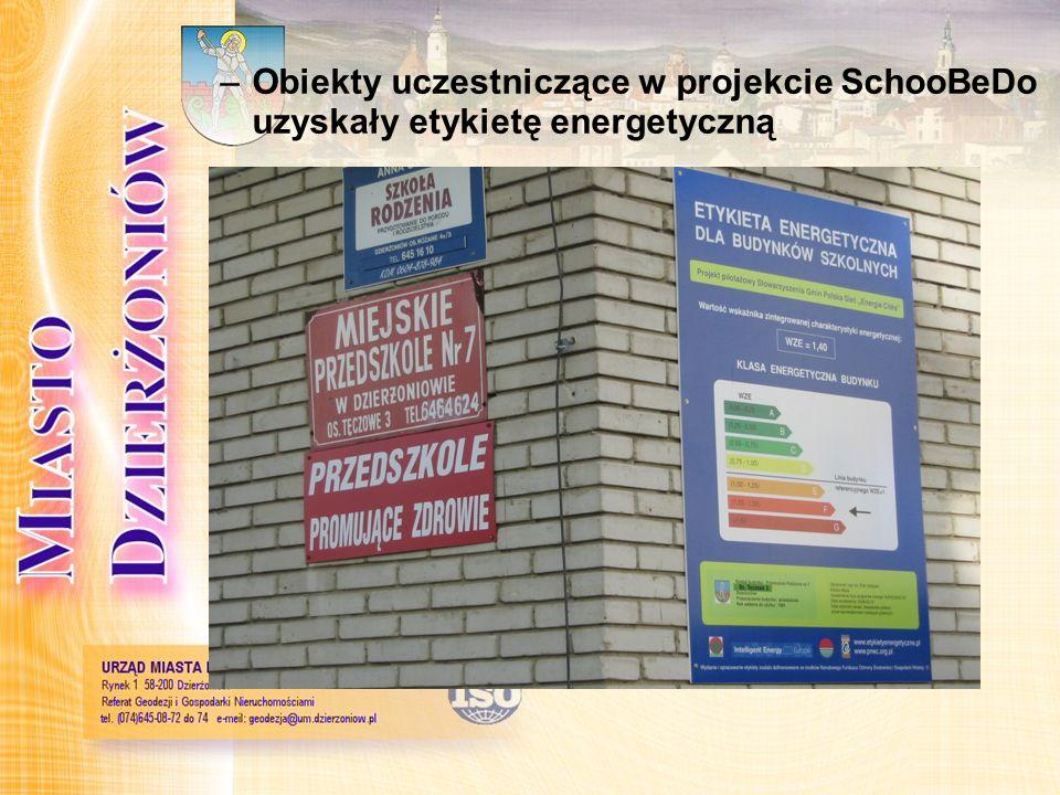 –Obiekty uczestniczące w projekcie SchooBeDo uzyskały etykietę energetyczną