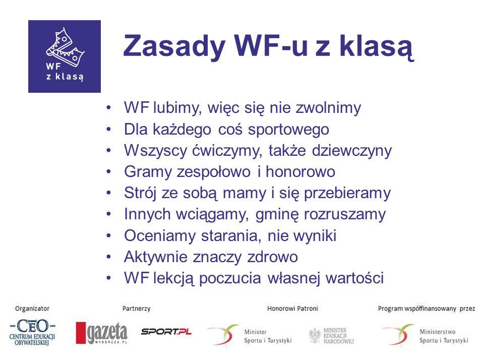 Zasady WF-u z klasą WF lubimy, więc się nie zwolnimy Dla każdego coś sportowego Wszyscy ćwiczymy, także dziewczyny Gramy zespołowo i honorowo Strój ze