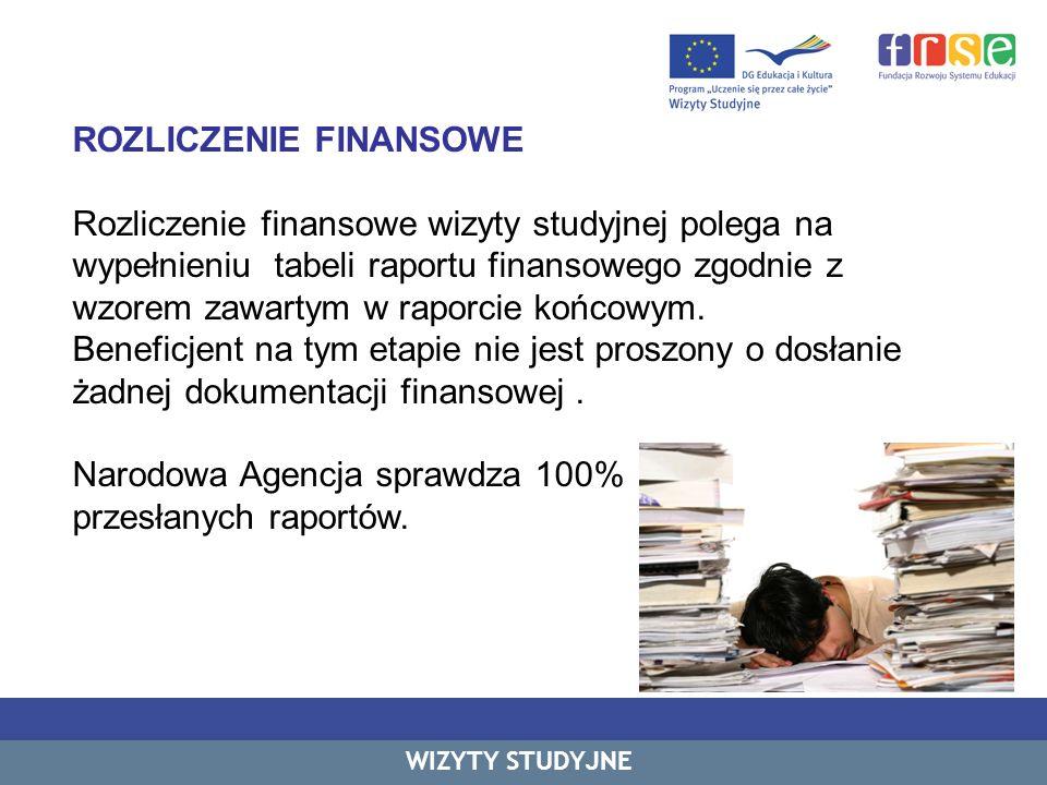 ROZLICZENIE FINANSOWE Rozliczenie finansowe wizyty studyjnej polega na wypełnieniu tabeli raportu finansowego zgodnie z wzorem zawartym w raporcie koń
