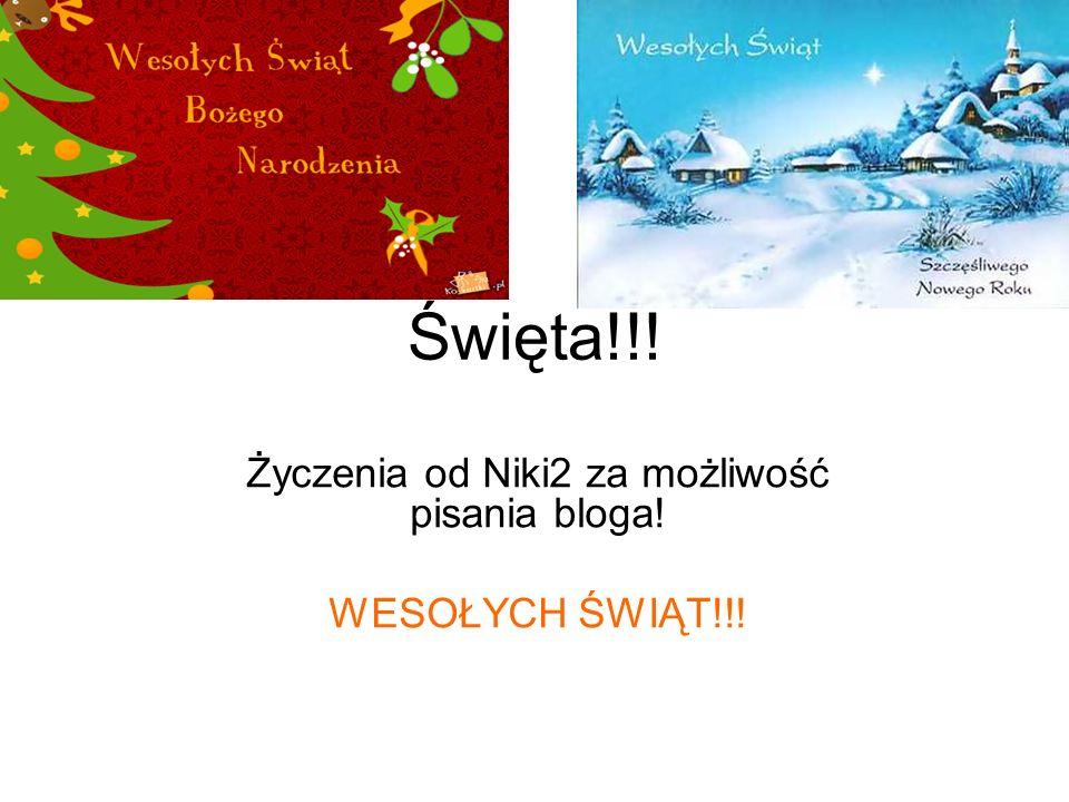 Święta!!! Życzenia od Niki2 za możliwość pisania bloga! WESOŁYCH ŚWIĄT!!!