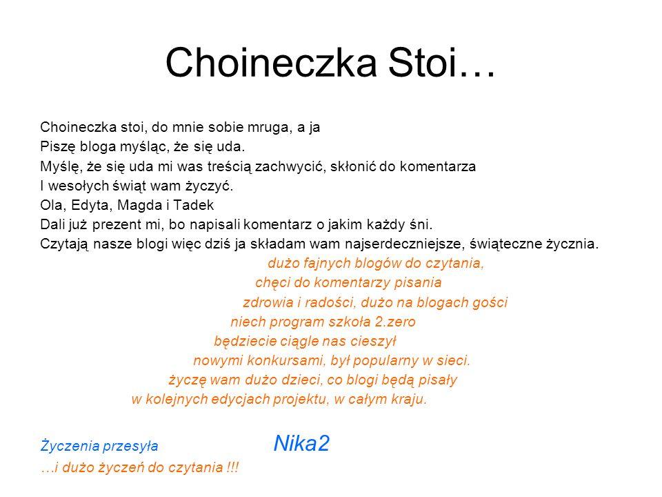 Choineczka Stoi… Choineczka stoi, do mnie sobie mruga, a ja Piszę bloga myśląc, że się uda. Myślę, że się uda mi was treścią zachwycić, skłonić do kom