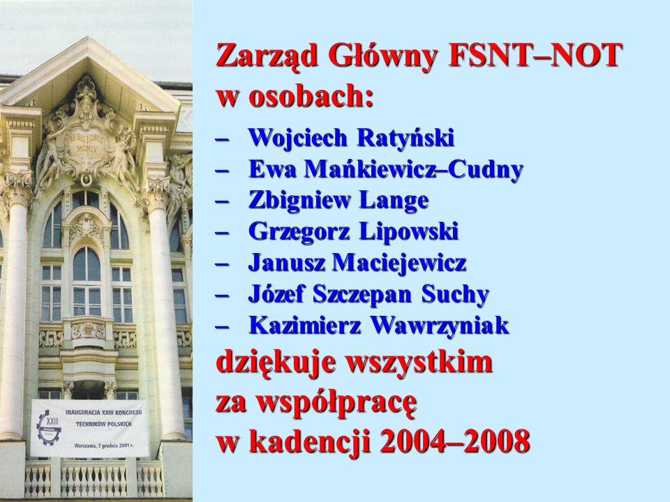 Zarząd Główny FSNT–NOT w osobach: – Wojciech Ratyński – Ewa Mańkiewicz–Cudny – Zbigniew Lange – Grzegorz Lipowski – Janusz Maciejewicz – Józef Szczepa